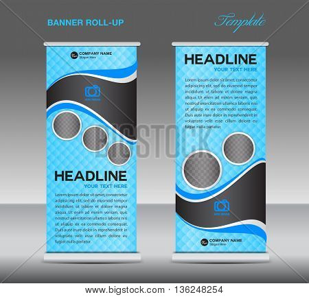 Blue Roll up banner stand template vintage banner corporate vector template