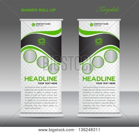 Green and white Roll up banner stand template vintage banner corporate vector template