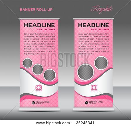 Pink Roll up banner stand template vintage banner corporate vector template