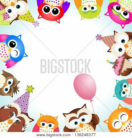 Scalable vectorial image representing a cute owls party background.