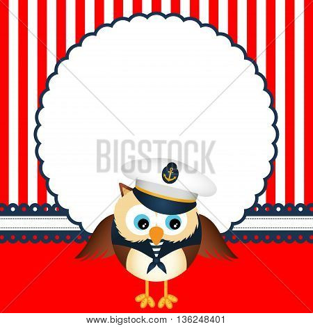 Scalable vectorial image representing a cute sailor owl background.