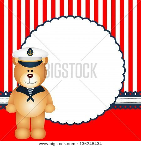 Scalable vectorial image representing a sailor teddy bear background.
