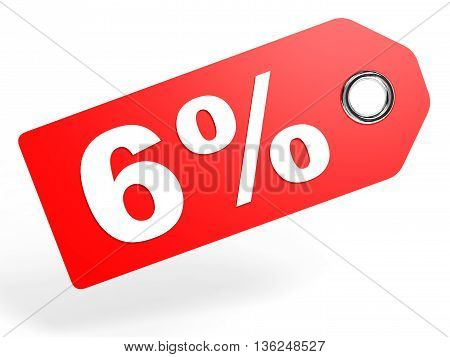 6 Percent Red Discount Tag On White Background.