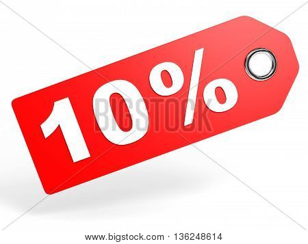 10 Percent Red Discount Tag On White Background.