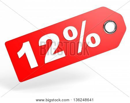 12 Percent Red Discount Tag On White Background.