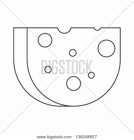 Piece of Swiss cheese icon in outline style isolated on white background