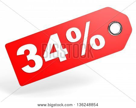 34 Percent Red Discount Tag On White Background.