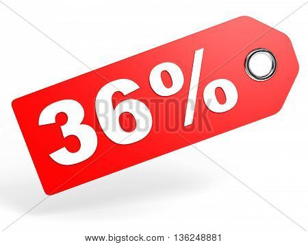 36 Percent Red Discount Tag On White Background.