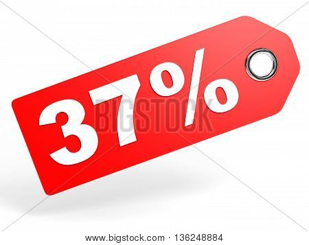 37 Percent Red Discount Tag On White Background.