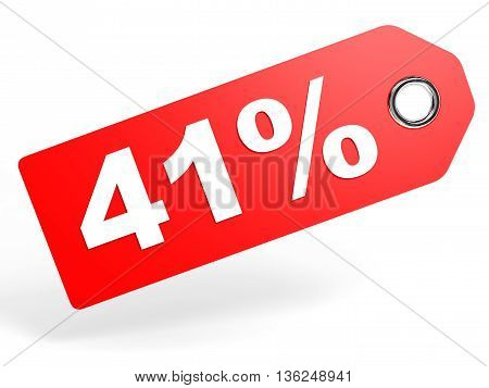 41 Percent Red Discount Tag On White Background.