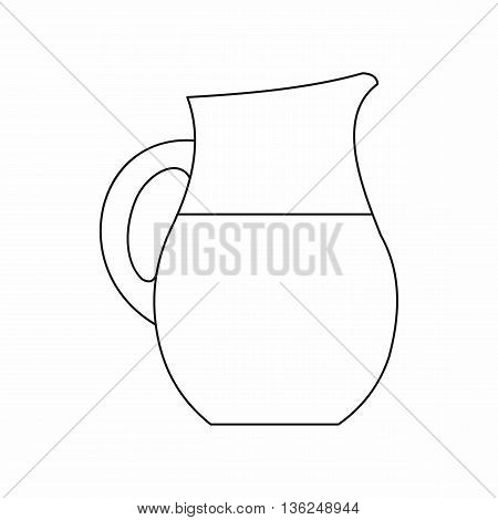 Pitcher of milk icon in outline style isolated on white background