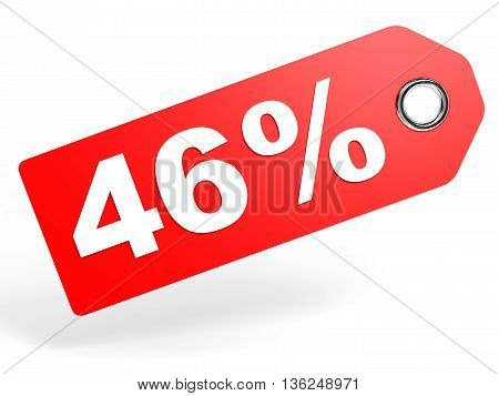 46 Percent Red Discount Tag On White Background.