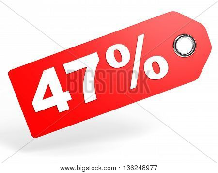 47 Percent Red Discount Tag On White Background.
