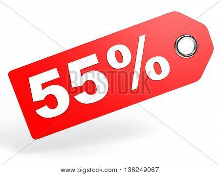 55 Percent Red Discount Tag On White Background.