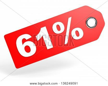 61 Percent Red Discount Tag On White Background.