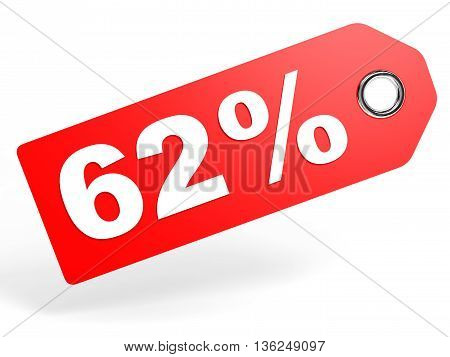 62 Percent Red Discount Tag On White Background.