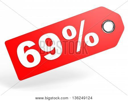 69 Percent Red Discount Tag On White Background.