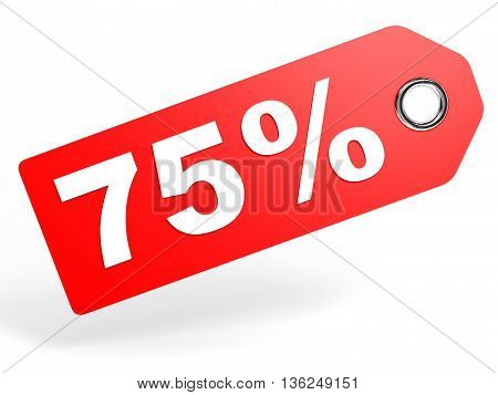 75 Percent Red Discount Tag On White Background.