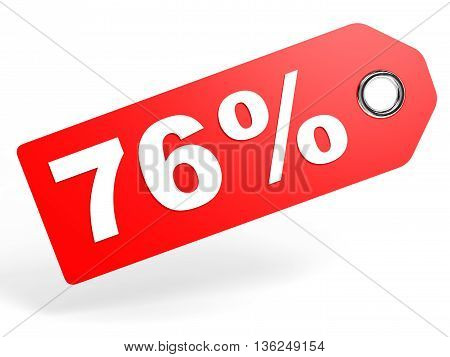 76 Percent Red Discount Tag On White Background.