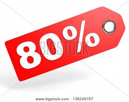 80 Percent Red Discount Tag On White Background.