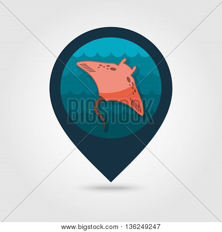 Ramp fish vector pin map icon. Beach Map pointer. Summer Map markers. Summertime. Vacation eps 10