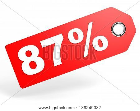 87 Percent Red Discount Tag On White Background.