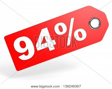 94 Percent Red Discount Tag On White Background.