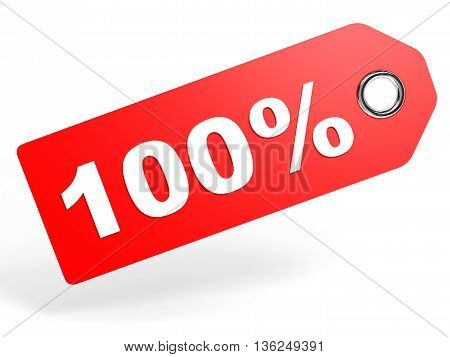 100 Percent Red Discount Tag On White Background.