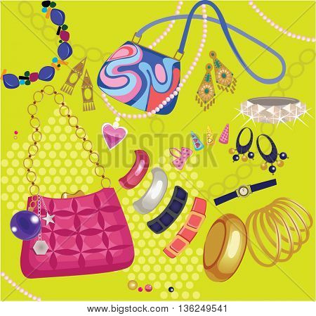 composition of women's accessories, handbag, bijouterie