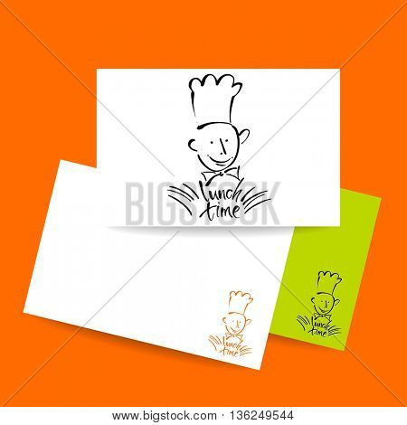 CHEF-COOK with handwritten lettering LUNCH TIME. Hand drawing chef-cook, handmade text lunch-time.Concept card design for restaurant, cafe, chief-cooker, chef, lunch time.Vector Illustration.
