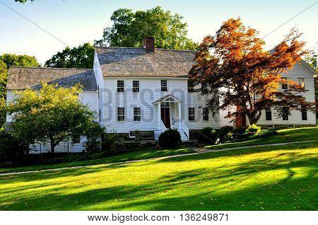 Washington Connecticut - September 15 2014: 18th century colonial-era home on the Village Green