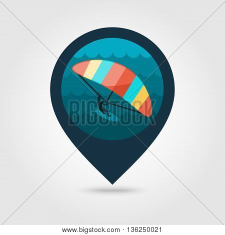 Kite boarding. Kite surfing vector pin map icon. Beach Map pointer. Summer Map markers. Summertime. Vacation eps 10