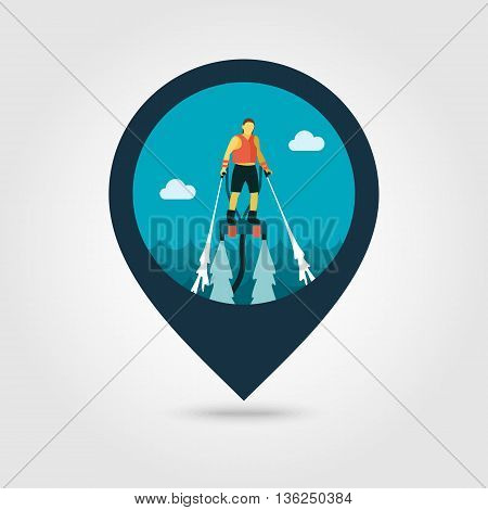 FlyBoard FlySurf vector pin map icon. Beach Map pointer. Summer Map markers. Summertime. Vacation ride water sport eps 10