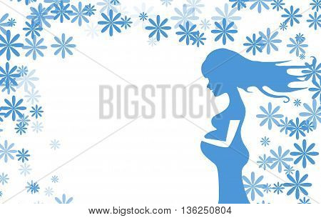 Greeting card young pregnant woman with long hair who expecting son. Gently holding belly. Vector monochrome illustration.