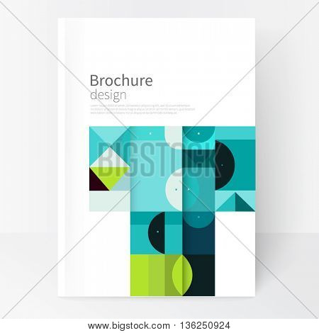 Vector book cover design creative concept  catalogue, report, brochure. Black, Blue and green abstract geometric shapes. Squares, triangles and circles vector-stock EPS 10. a4 size