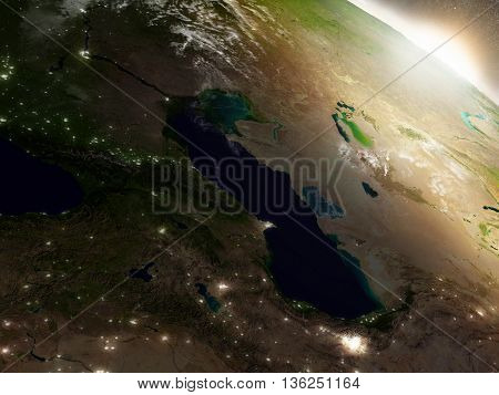 Sunrise Over Caucasus Region
