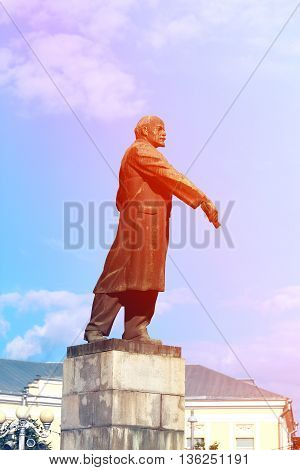 A beautiful monument to Lenin photographed in close-up