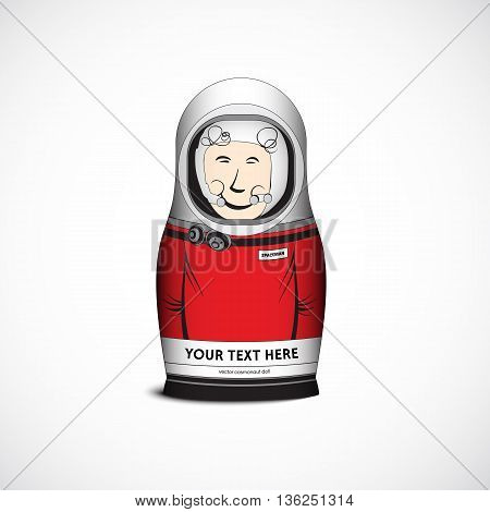 Cosmonaut spaceman funny toy doll. Vector Illustration