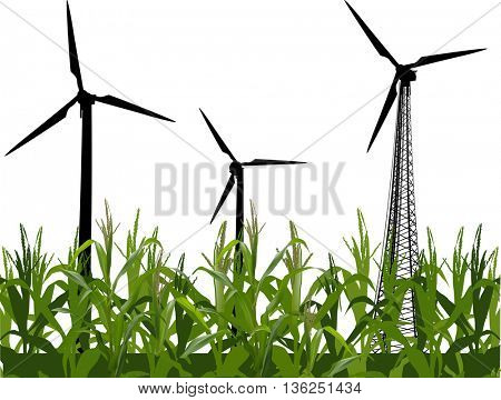 illustration with three wind power generator silhouettes in green maize isolated on white background
