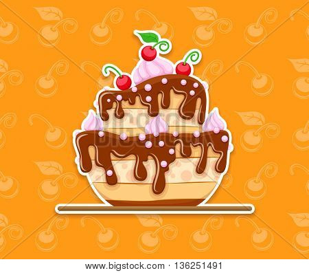 Sponge cake dessert with sweet chocolate glaze and cream red cherries seamless background berries vector illustration