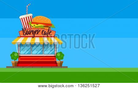 Fast food cafe store flyer or banner design shop-window facade hamburger and cola drink sign front view flat vector illustration