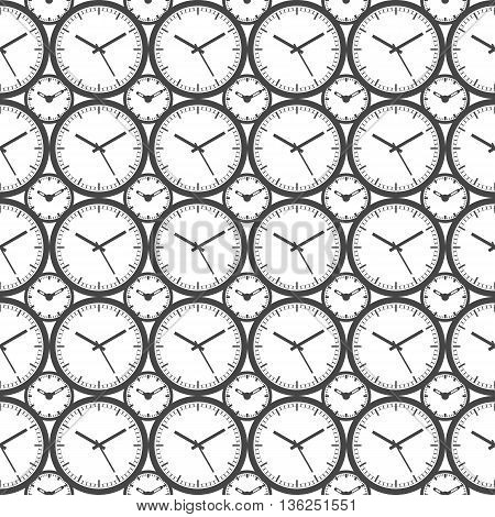 Clock Seamless Pattern Background - Outline Vector Illustration. Time theme. Simplified Lines Design.