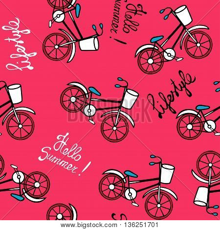 Seamless pattern with retro bicycles. Drawing and lettering by hand. Vector illustration in cartoon style. Pink background.
