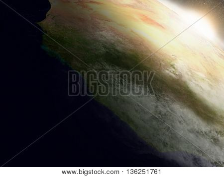 Sunrise Over Liberia, Sierra Leone And Guinea