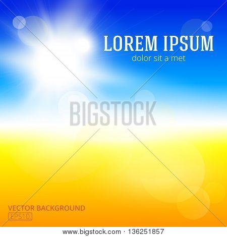 Blurry yellow beach and blue sky with summer sun burst. Vector illustration.
