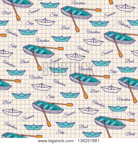 Sketch of a rowing boat and paper boats. Seamless pattern on notebook sheet. Vector illustration of hand-drawn.