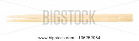 Wooden sushi chopsticks isolated over the white background