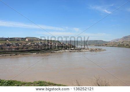 Tigris River in Mesopotamia in Kurdistan, Turkey.