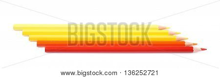 Line of five color pencils, composition isolated over the white background