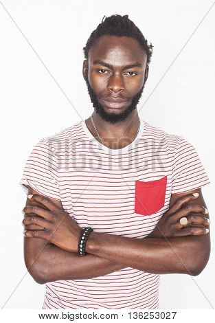 young handsome afro american boy stylish hipster gesturing emotional isolated on white background smiling, lifestyle real people concept